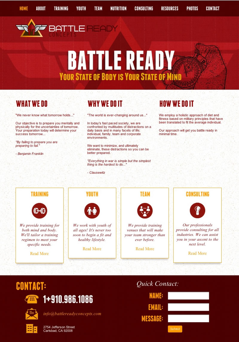 Battle Ready Concepts Web Design