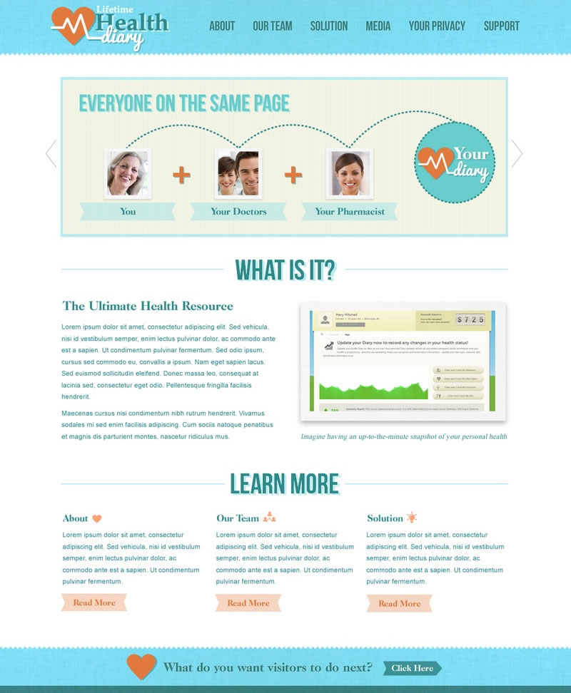 Health Diary Web Design